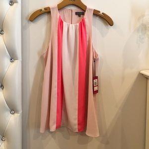 Pink color block blouse